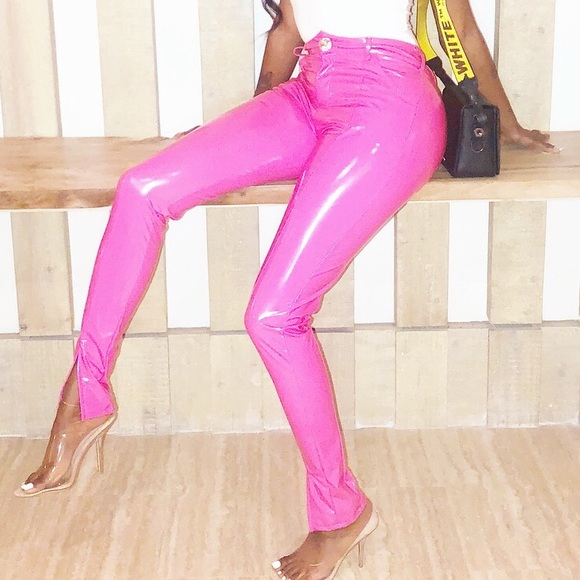 Apologise, pink latex pants something